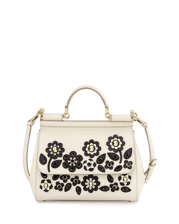 Miss Sicily Jeweled Satchel Bag, White/Black