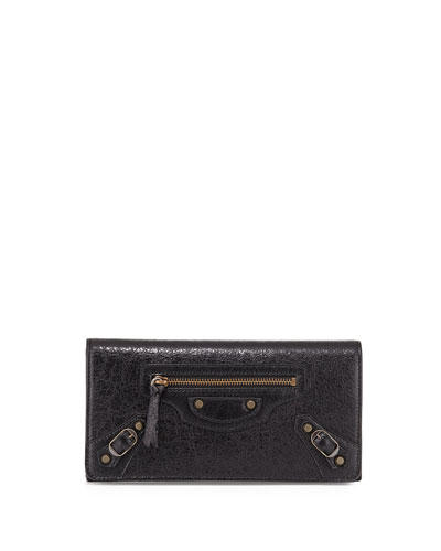 Classic Money Lambskin Wallet, Black