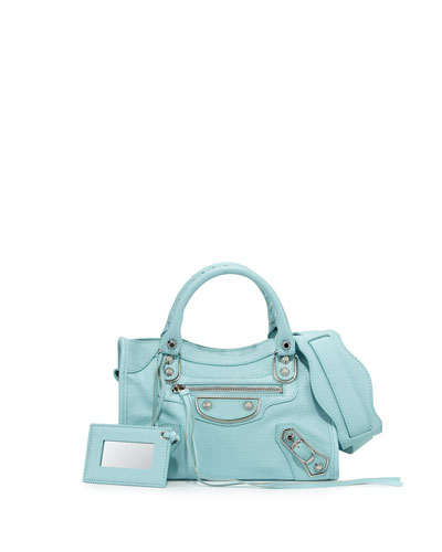 Metallic Edge City Mini Bag, Light Blue