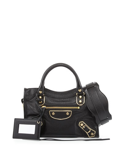 Metallic Edge City Mini Bag, Black