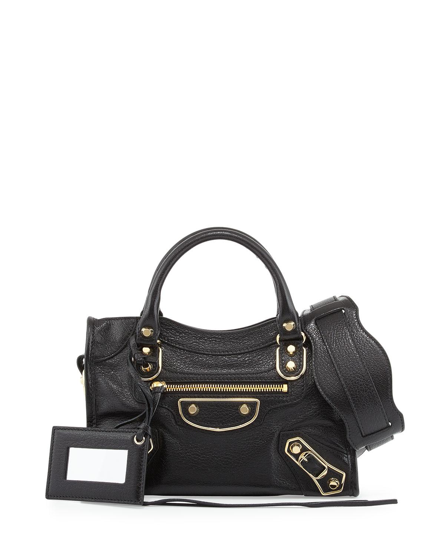 Metallic Edge City Mini Bag, Black