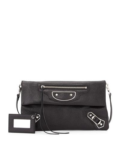 Metallic Edge Envelope Crossbody Bag, Black