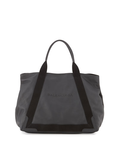 Navy Cabas Medium Leather Tote Bag, Black