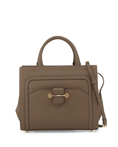 Daphne Rubberized Leather Tote Bag, Brown