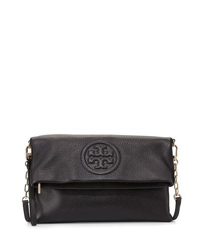 Bombe Fold-Over Clutch Bag, Black