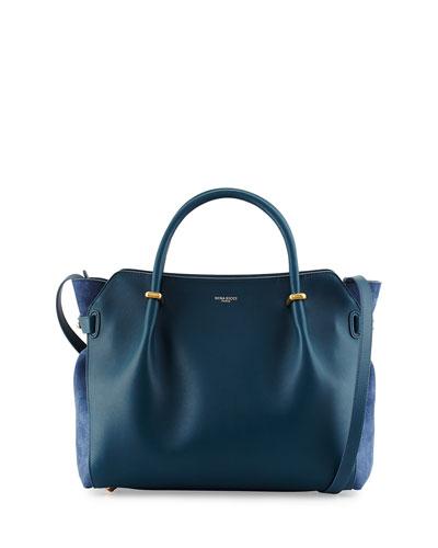 Marche Calf Leather Satchel Bag, Blue