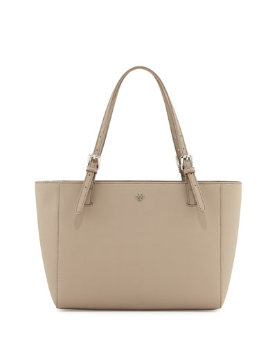 York Small Saffiano Leather Tote Bag, French Gray