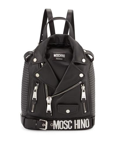 Lambskin Moto Jacket Backpack, Black/Silver