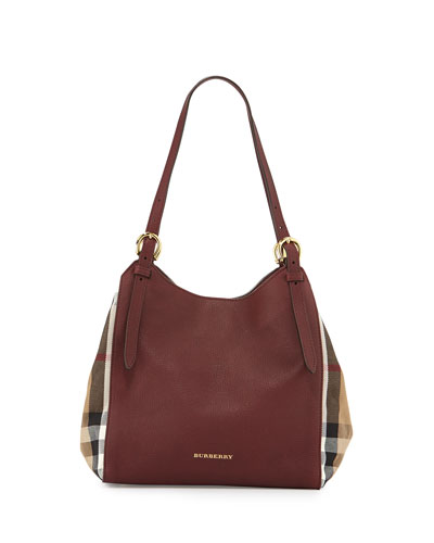 Leather Check-Side Hobo Bag, Mahogany Red
