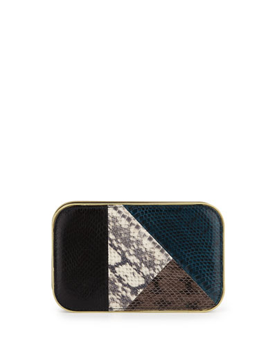 Daniela Small Snakeskin Framed Clutch Bag, Teal Combo