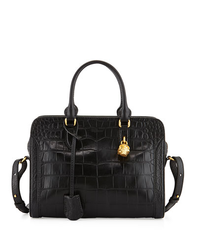 Small Croc-Embossed Padlock Satchel Bag, Black