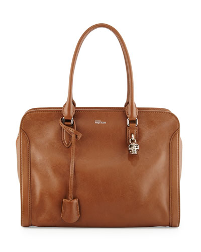 Medium Padlock Satchel Bag, Cognac