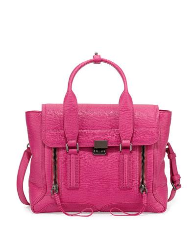 Pashli Medium Zip Satchel Bag, Bright Fuchsia