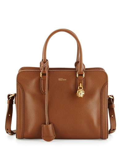 Small Padlock Satchel Bag, Cognac