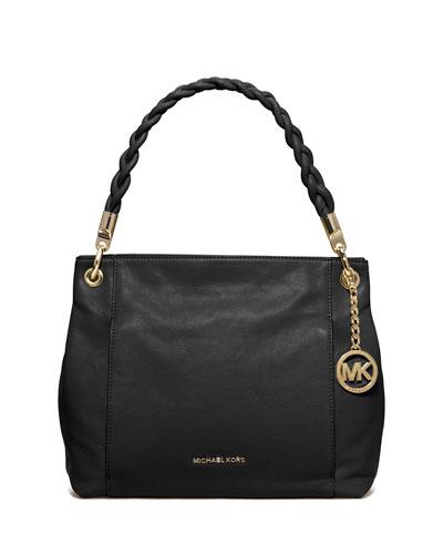 Naomi Large Twist-Strap Tote Bag, Black