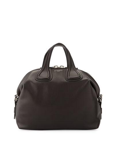 Nightingale Medium Waxy Leather Satchel Bag, Black