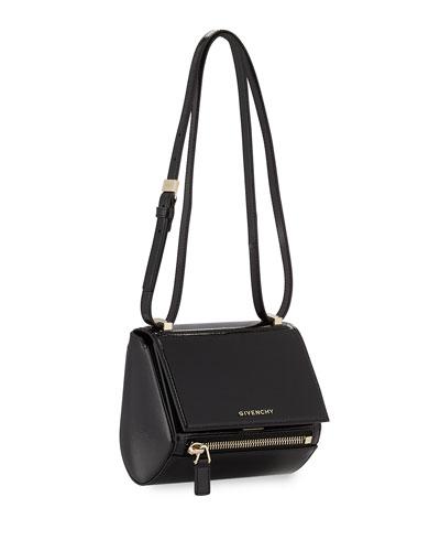 Mini Pandora Box Patent Shoulder Bag, Black