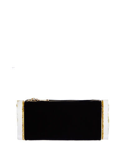Soft Lara Velvet Clutch Bag, Black