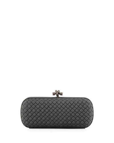 Faille Stretch Knot Minaudiere Bag, Medium Gray