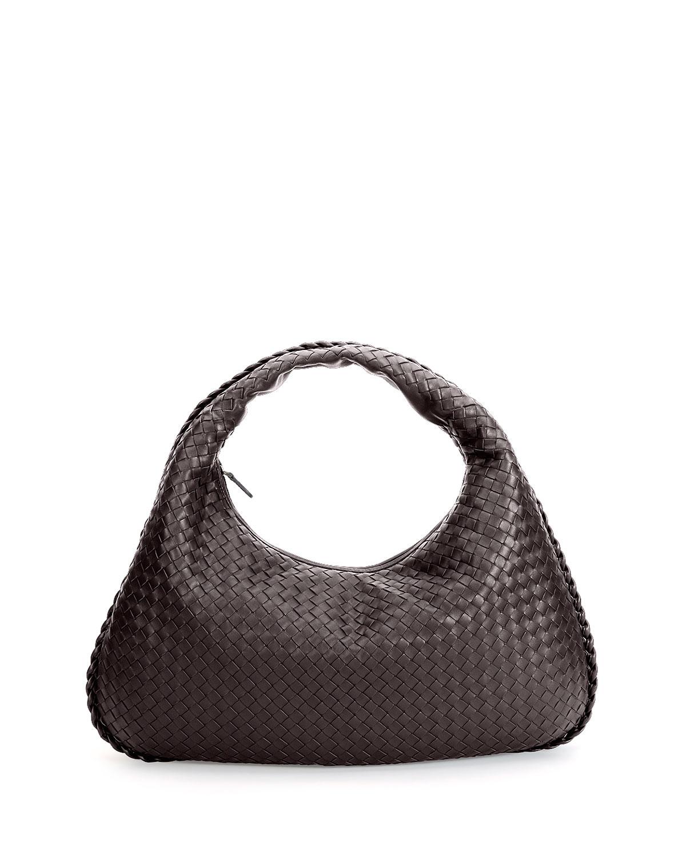 Veneta Intrecciato Large Hobo Bag, Dark Brown