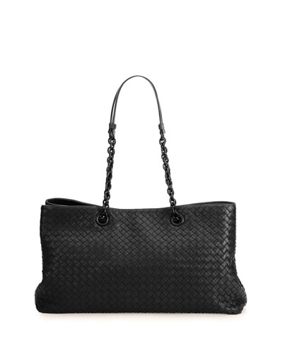 Intrecciato Double Chain Tote Bag, Black