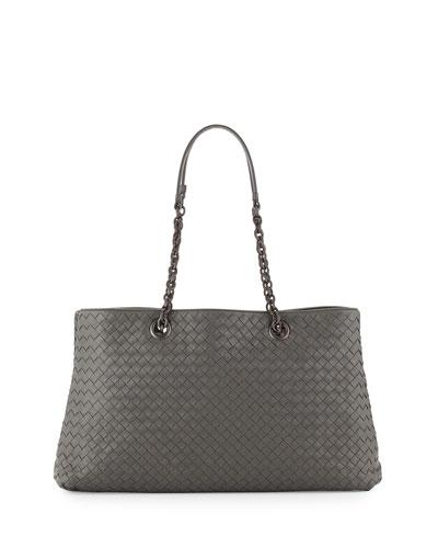 Intrecciato Double Chain Tote Bag, Gray