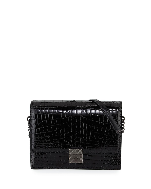 Crocodile 3/4-Flap Shoulder Bag, Black