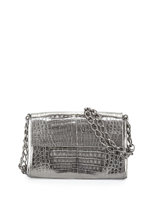 Crocodile Small Chain-Strap Shoulder Bag, Anthracite