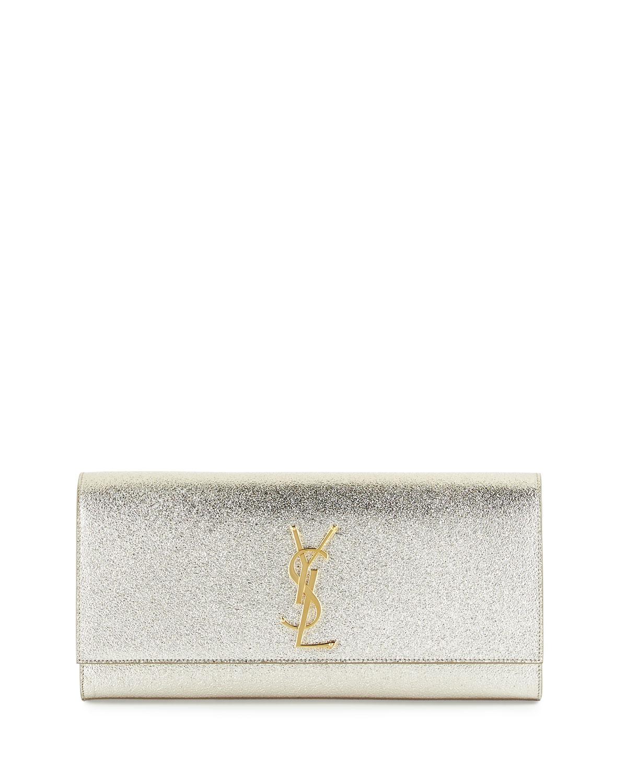 Monogram Metallic Clutch Bag, Pale Gold