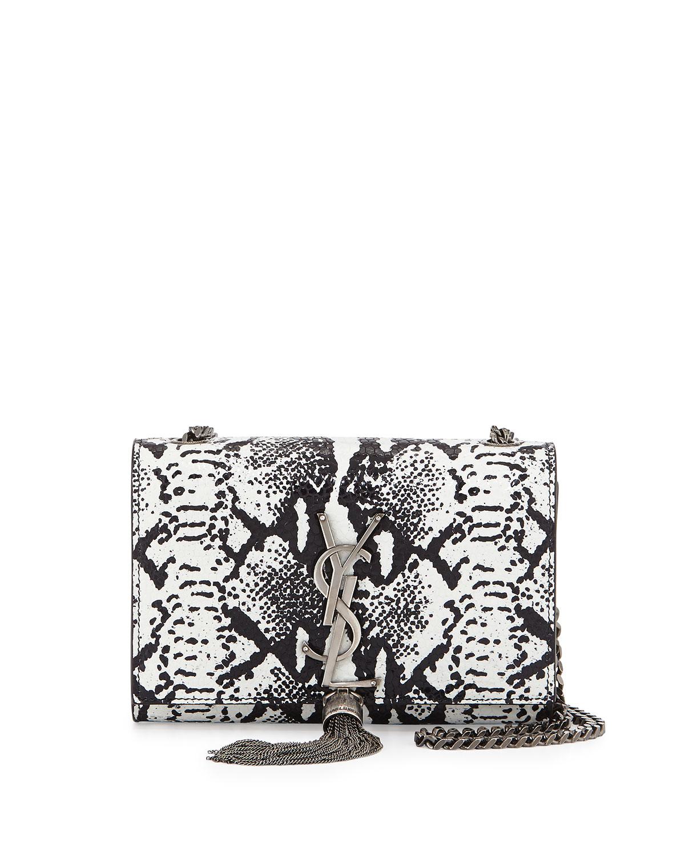 Monogram Lizard-Stamp Shoulder Bag, White/Black