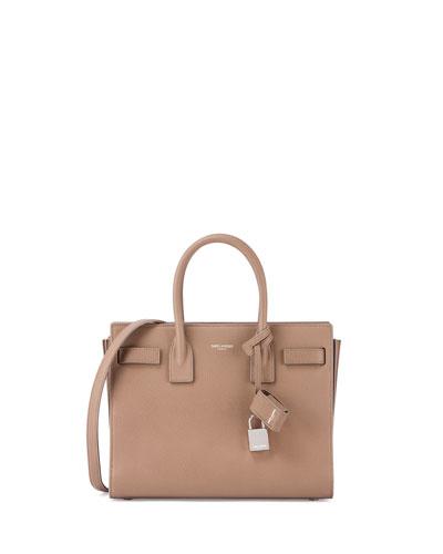Sac de Jour Baby Grain Leather Satchel Bag, Taupe