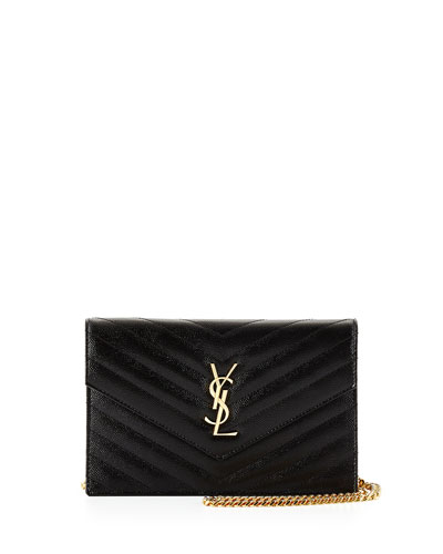 Monogram Small Matelassé Envelope Chain Wallet, Black/Gold
