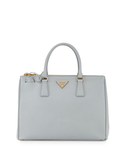 Saffiano Lux Double-Zip Tote Bag, Light Gray (Granito)