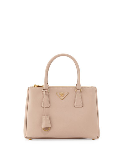 Saffiano Lux Small Double-Zip Tote Bag, Blush (Cammeo)
