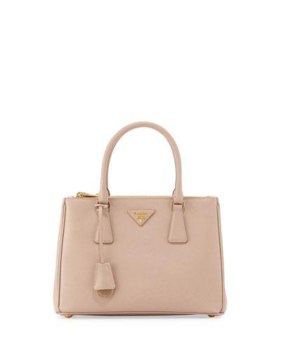 Saffiano Lux Small Double-Zip Tote Bag, Blush (Cammeo)