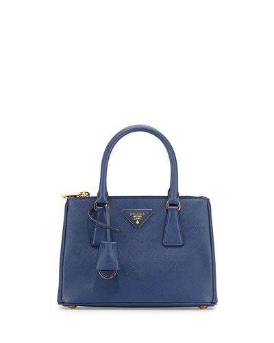 Saffiano Mini Double-Zip Tote Bag, Blue (Bluette)