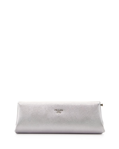 Saffiano East-West Frame Clutch Bag, Silver (Cromo)