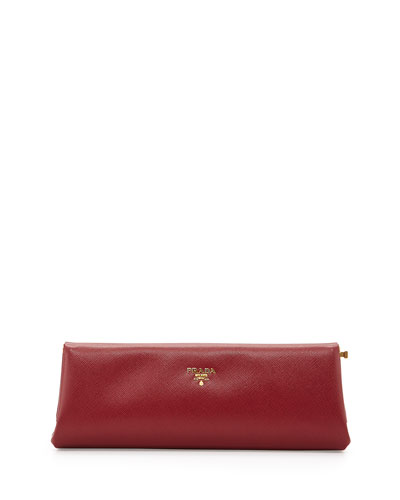 Saffiano East-West Frame Clutch Bag, Wine (Cerise)
