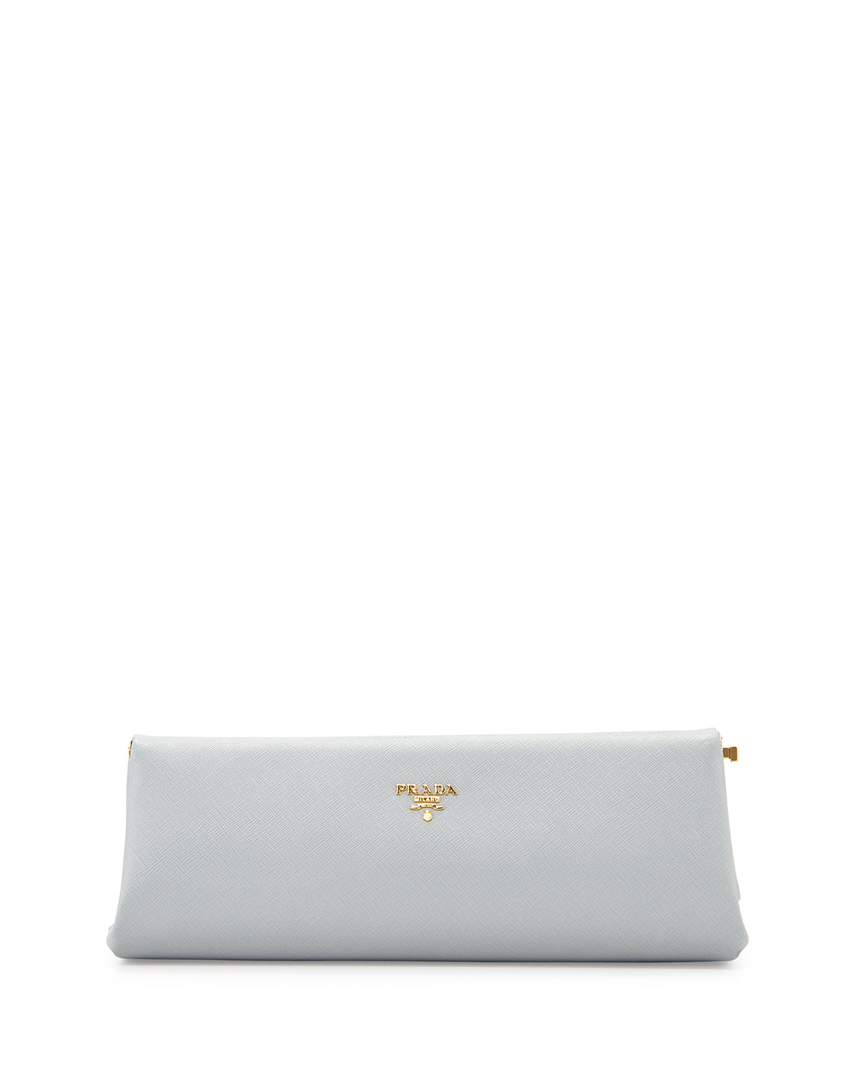 Saffiano East-West Frame Clutch Bag, Light Gray (Granito)