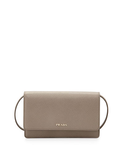 Saffiano Lux Mini Crossbody Bag, Gray (Argilla)