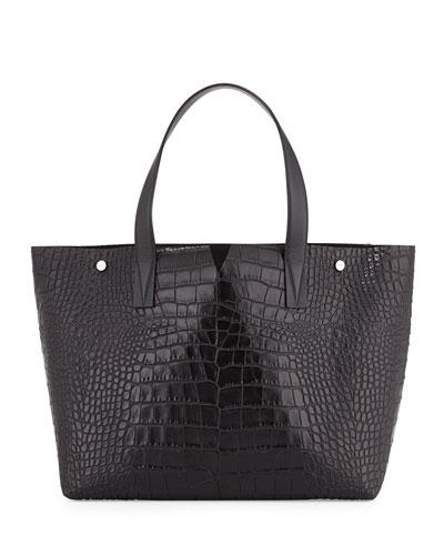 Signature V Embossed-Crocodile Tote Bag, Black