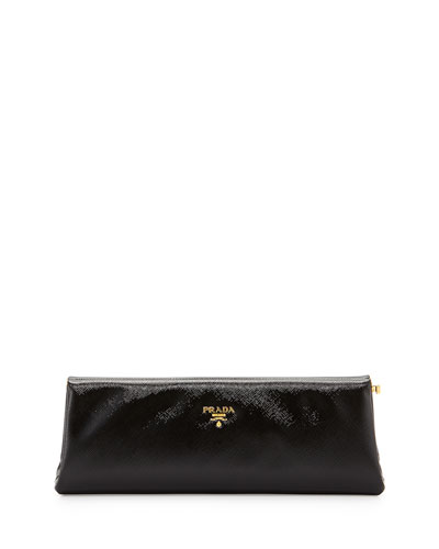 Saffiano Vernice East-West Frame Clutch Bag, Black (Nero)