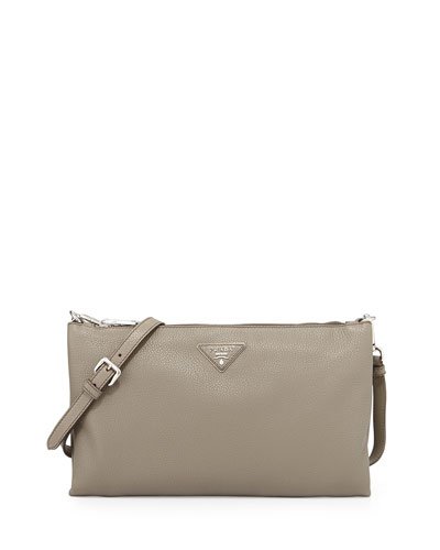 Vitello Daino Crossbody Bag, Gray (Argilla)