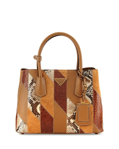 Patchwork Tote Bag, Camel Multi (Cannela)