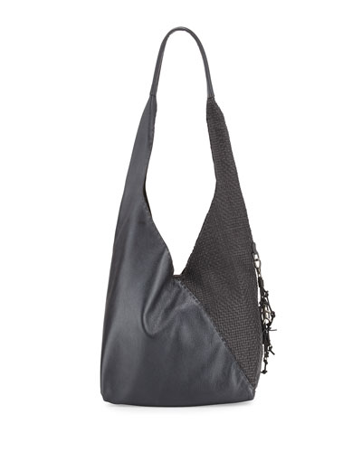 Canotta Smooth/Woven Hobo Bag, Black/Dark Gray