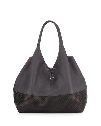 Large Woven Cervo Hobo Sling Bag, Dark Gray/Black
