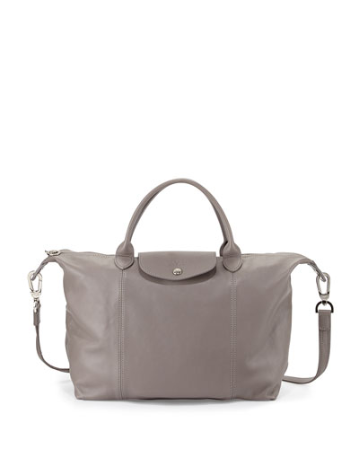 Le Pliage Cuir Medium Tote Bag