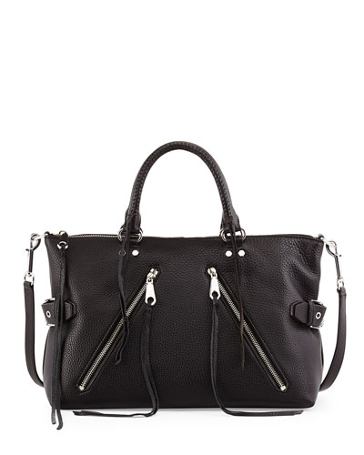 Large Moto Leather Satchel Bag, Black/Silver
