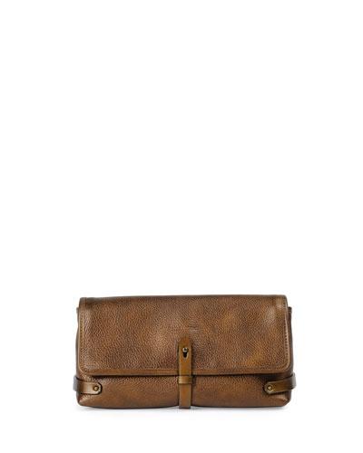 Granada Metallic Leather Clutch Bag, Dark Brass