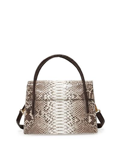 Python/Crocodile Medium Flap Bag, Natural